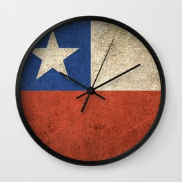 Old and Worn Distressed Vintage Flag of Chile Wall Clock