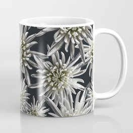 Mum Floral Pattern - Mum's the word - Black and White Floral Design - White Mum Flowers - I Love my Coffee Mug
