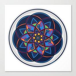 Spice of Life Round, Red, Blue, Orange, Yellow Green Star Mandala Canvas Print