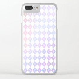 Geometrical pink violet white watercolor abstract diamonds Clear iPhone Case
