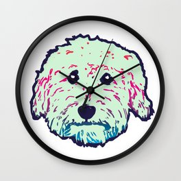 Sweet Goldedoodle dog in mint/navy Wall Clock