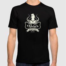 Alvin's Seafood Palace - Fantasy Vintage Logo MEDIUM Black Mens Fitted Tee
