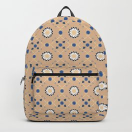 Beige Blue Flowers Pattern Spanish Tiles bathroom tile decal Oriental Decor Moroccan tiles Backpack