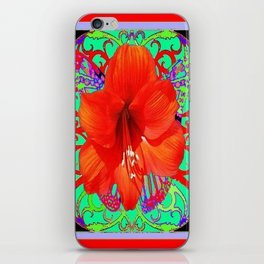 Italian  Style Design Red Amaryllis Abstract iPhone Skin