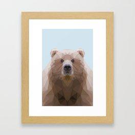Low poly bear on blue/grey background Framed Art Print