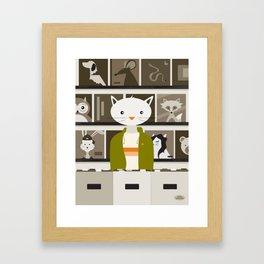Record Store Cat Framed Art Print