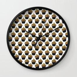 Black gold abstract modern sweet cupcake pattern Wall Clock