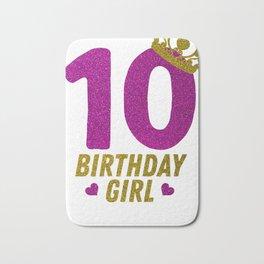 Princess 10Th Birthday Shirt For Girls 2008 10 Year Old Gift Bath Mat