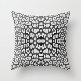 Leopard Print - Grey Throw Pillow