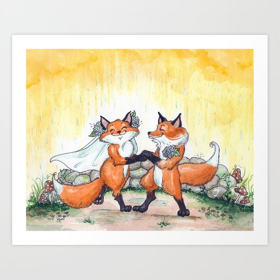 Fox Wedding  Art Print