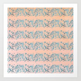 Coral teal watercolor abstract geometric stripes Art Print
