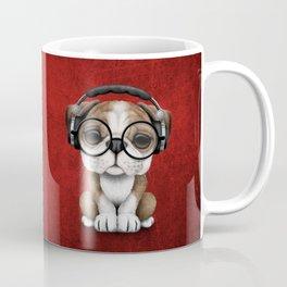 English Bulldog Puppy Dj Wearing Headphones and Glasses on Red Coffee Mug