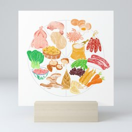 Illustration of a collection of Chinese ingredients Mini Art Print