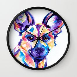 African Wild Dog, Painted Hunting Dog Wall Clock