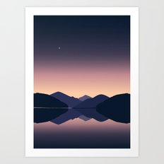 Mountain sunset reflection Art Print