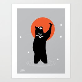 Big Bear and the Bird- Wearing Gas mask Art Print