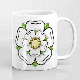 White Rose of York Flower, Blue Flag Heraldy Yorkshire Coffee Mug