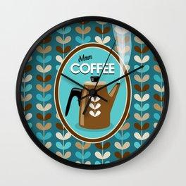 Mid Century Modern Coffee Kettle Kitchen Wall Decor // Caribbean Blue, Turquoise, Brown, Khaki, Tan Wall Clock