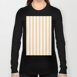 Narrow Vertical Stripes - White and Sunset Orange Long Sleeve T-shirt