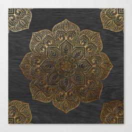 Wood Mandala - Gold Canvas Print