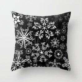 Symbols in Snowflakes on Black Throw Pillow