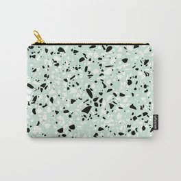 'Speckle Party' Mint Green Black White Dots Speckle Trendy Sporty Pattern Carry-All Pouch