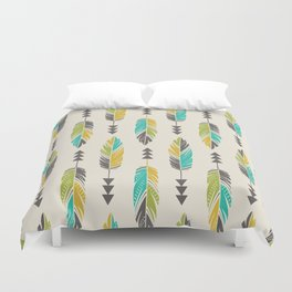 Painted Feathers in a Row-Cream Duvet Cover