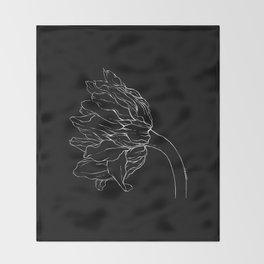 Sunflower Ink Illustration Dark Throw Blanket