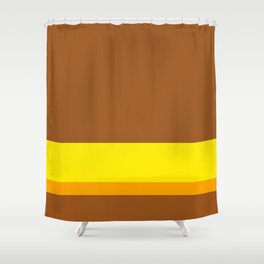 Solid Color Autumn w/ Divider Lines - Illustration Brown Yellow Orange Art Shower Curtain