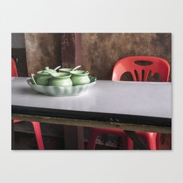 Red and Green Table and Chair Canvas Print