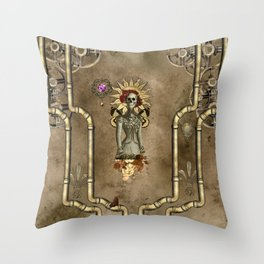 Wonderful steampunk design with funny skull with flowers, vintage Throw Pillow