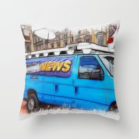 the hound Throw Pillows featuring News Hound by Paul & Fe Photography