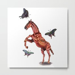 horse and butterfly Metal Print