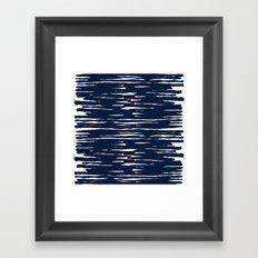 Maritime pattern- darkblue handpainted stripes on clear white- horizontal Framed Art Print