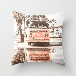Urban Retro Camper Van With Surfboards Throw Pillow