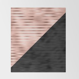Modern Chic Pink Rose Gold Black Triangle Cut Throw Blanket