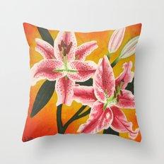 Stargazer Lilies Throw Pillow