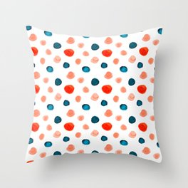 Blue and Orange Dots Throw Pillow