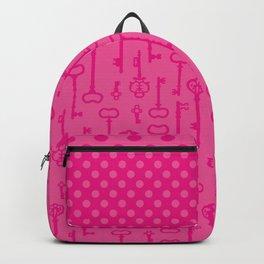 Pink Secret Keys Pattern Backpack