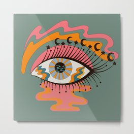 Cosmic Eye Retro 70s, 60s inspired psychedelic Metal Print