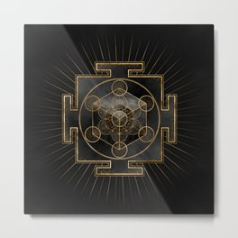 Metatron's Cube Sri Yantra Sacred Geometry  Metal Print