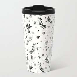 Hand painted cute black white rabbit watercolor floral Travel Mug