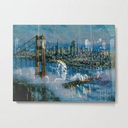 Window Reflection 002 (Horses/Golden Gate) Metal Print