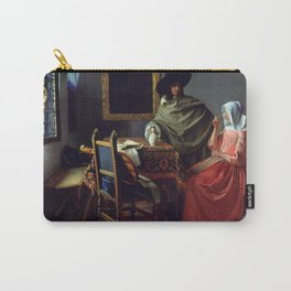 """Johannes Vermeer """"A Lady Drinking and a Gentleman"""" Carry-All Pouch"""