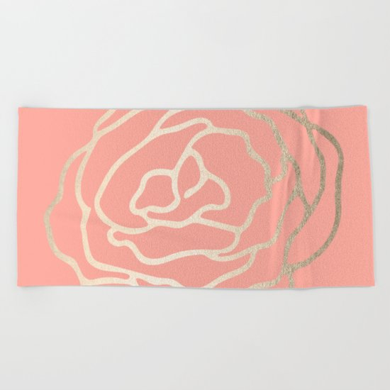 Flower in White Gold Sands on Salmon Pink Beach Towel