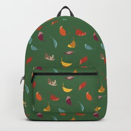 Fall Leaves on Green Backpack