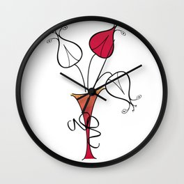Red Flowers in Vase Wall Clock
