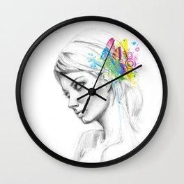 Butterfly Queen Girl with Butterflies Wall Clock