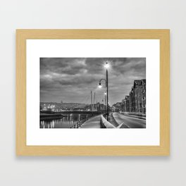 Early Winter evening St. George's Quay, Lancaster Framed Art Print