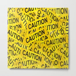 caution road sign cross yellow Metal Print